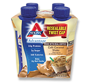 Atkins Advantage Cafe Caramel Shake 4 Shakes 11 fl oz (325 ml) Each