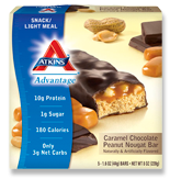 Atkins Advantage Caramel Chocolate Peanut Nougat Bar 5 Bars 1.6 oz (44 g) Each
