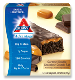 Atkins Advantage Caramel Double Chocolate Crunch Bar 5 Bars 1.6 oz (44 g) Each