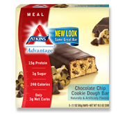Atkins Advantage Chocolate Chip Cookie Dough Bar 5 Bars 2.1 oz (60 g) Each