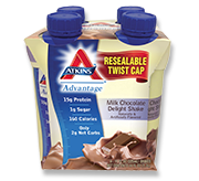 Atkins Advantage Milk Chocolate Delight Shake 4 Shakes 11 fl oz (325 ml) Each