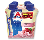 Atkins Advantage Strawberry Shake 4 Shakes 11 fl oz (325 ml) Each