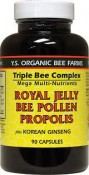 Y.S. Eco Bee Farms Royal Jelly Bee Pollen Propolis Plus Korean Ginseng 90 Capsules